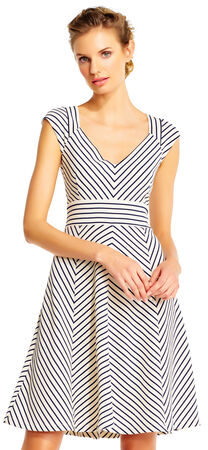 Cap Sleeve Chevron Stripe Print Fit and Flare Dress with V-Neck