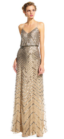 Chevron Beaded Blouson Gown