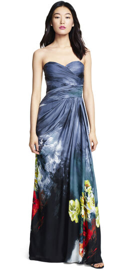 Strapless Draped Chiffon Floral Printed Gown