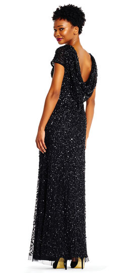 1930s Style Evening Dresses Short Sleeve Sequin Beaded Gown with Cowl Back $299.00 AT vintagedancer.com