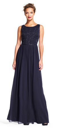 Sleeveless Chiffon Dress with Geometric Beaded Bodice