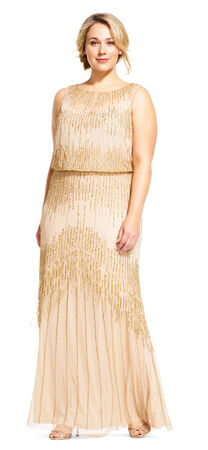 Beaded Blouson Gown with Sheer Neckline and Keyhole Back