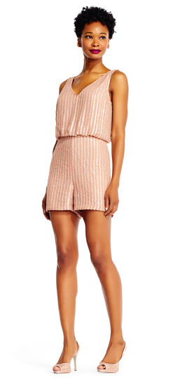 Stripe Beaded Romper with Blouson Bodice