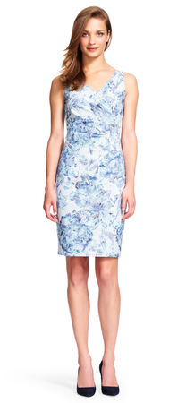 Sequin Floral Pleated Sheath Dress
