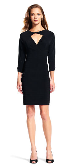 Long Sleeve Sheath Dress with Cutout Neck and Back