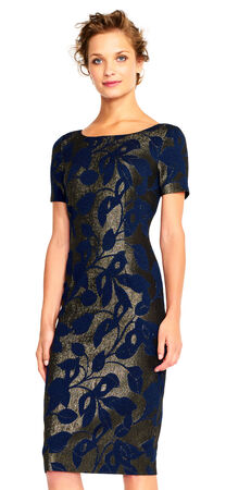 Metallic Floral Jacquard Sheath Dress with Short Sleeves