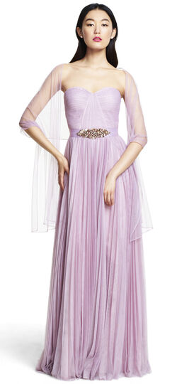 Strapless Tulle Ball Gown with Pleated Skirt