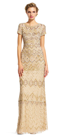 1920s Cocktail Party Dresses, Evening Gowns Short Sleeve Beaded Dress with Tribal Sequin Designs $209.40 AT vintagedancer.com