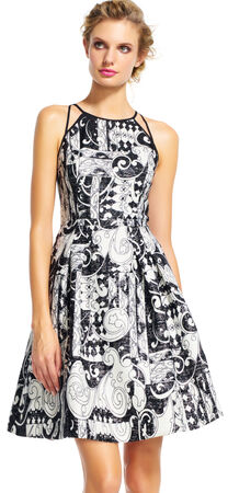 Paisley Halter Fit and Flare Dress with Dual Straps