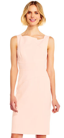 Sleeveless Origami Sheath Dress with Exposed Zip Back