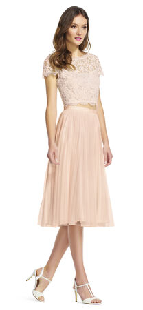Cap Sleeve Lace Crop Top with Sheer Neckline