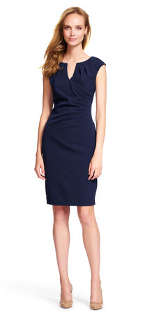 Pleated Side Drape Sheath Dress