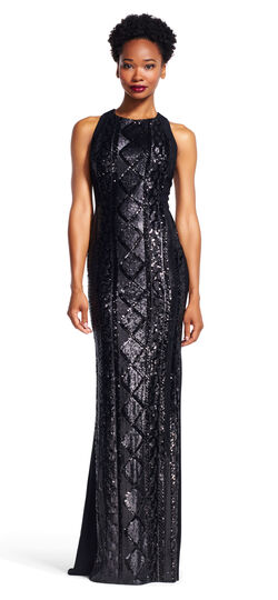 Halter Gown with Cable Knit Sequin Beading