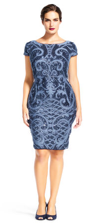 Sequin Lace Cocktail Dress with Filigree Embroidered