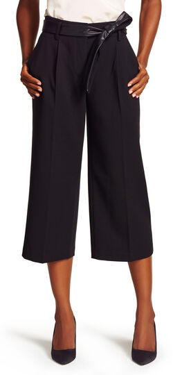 Faux Leather Tie Culottes