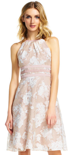 Floral Organza Halter Dress with Waist Details