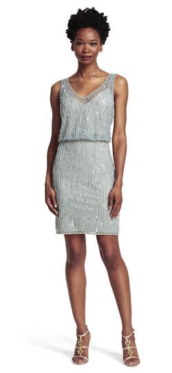 Beaded Mesh Blouson Dress