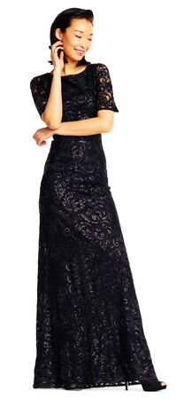 Sequin Lace Mermaid Dress with Elbow Sleeves
