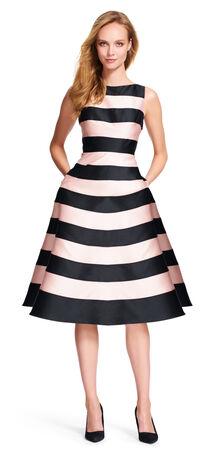 Striped Mikado Midi Dress with V-Back