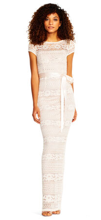 Short Sleeve Lace Column Gown with Ribbon Tie Waist and Beaded Accents