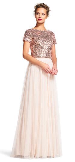 Short Sleeve Sequin Dress Set with Chiffon Skirt