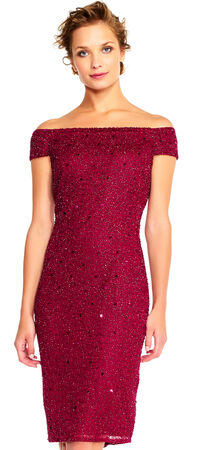 Off The Shoulder Sequin Sheath Cocktail Dress