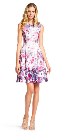 Gradated Floral Print Sleeveless Dress with V-Back