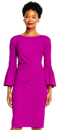 Knit Shift Dress with Bell Sleeves and Boat Neckline