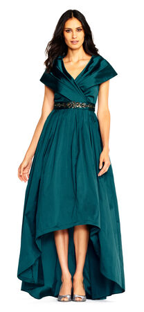 Silky Taffeta High Low Gown with Shawl Collar and Beaded Waist