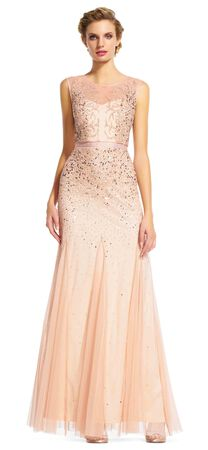 Long Beaded Gown with Illusion Neck