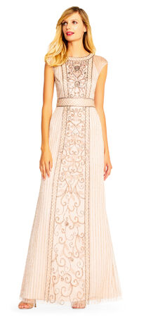 Cap Sleeve Beaded Gown with Sheer Details