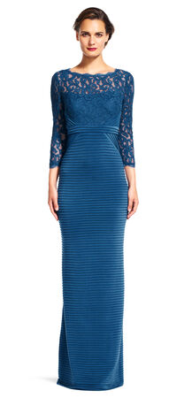 Sheer Lace Banded Gown with Three Quarter Sleeves