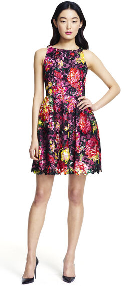 Halter floral printed guipure lace party dress