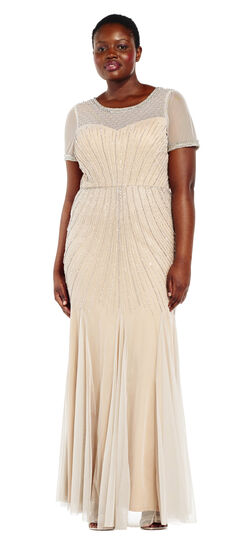 Vintage Inspired Bridesmaid Dresses, Mothers Dresses Short Sleeve Beaded Godet Dress with Sheer Details $359.00 AT vintagedancer.com