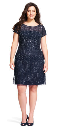 Short Sleeve Beaded Cocktail Dress