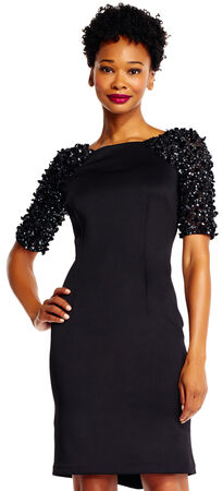 Sheath Dress with 3D Floral Beaded Sleeves