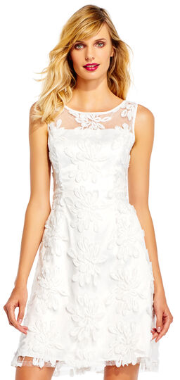 Floral Fringe Lace Fit and Flare Dress with Sheer Neckline