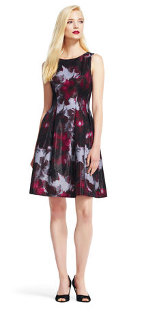 Dark Shimmer Floral Fit and Flare Dress