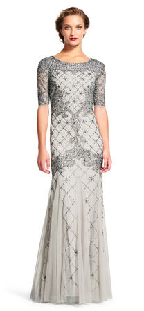Fully Beaded Godet Gown with Sheer Sleeves