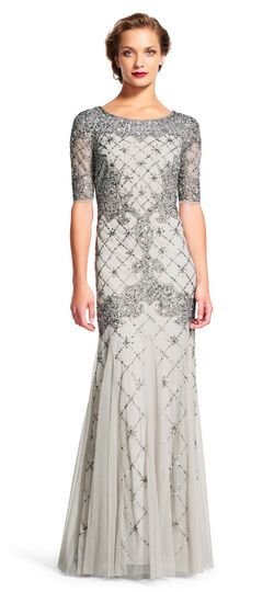 Vintage Inspired Bridesmaid Dresses Fully Beaded Godet Gown with Sheer Sleeves $389.00 AT vintagedancer.com