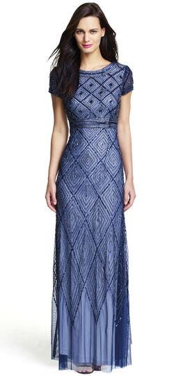 Short Sleeve Long Beaded Gown