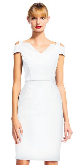 V-Neck Sheath Dress with Cold Shoulder Sleeves