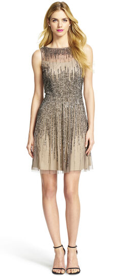 Sleeveless Illusion Yoke Beaded Party Dress
