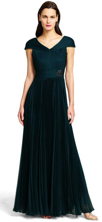 Shirred Caplet Gown with Chiffon Pleated Ball Skirt