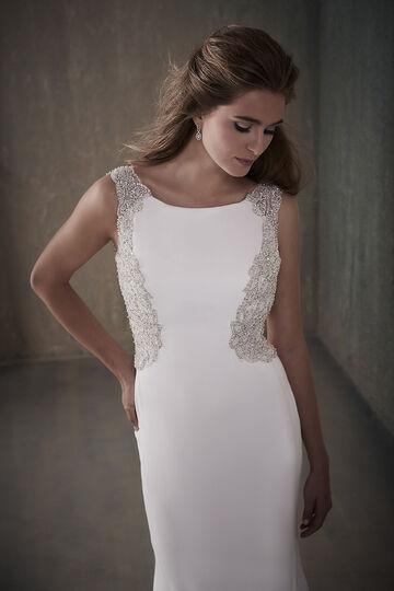 Beaded Crepe Sheath Wedding Dress with Keyhole Back - 31029