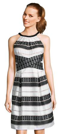 Stripe Lace Halter A-Line Dress with Beaded Neckline