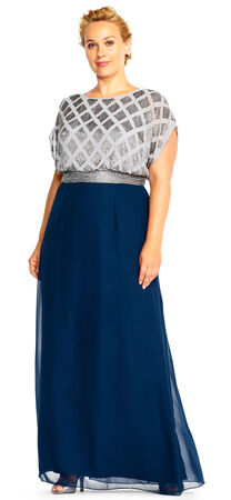Beaded Two Tone Blouson Gown with Short Sleeves