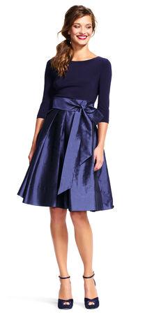 Three Quarter Sleeve Taffeta Midi Dress with Tie Waist