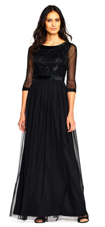 Sheer Three Quarter Sleeve Chiffon Gown with Beaded Bodice