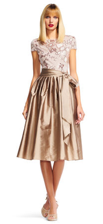 Short Sleeve Taffeta Midi Dress with Floral Embroidery